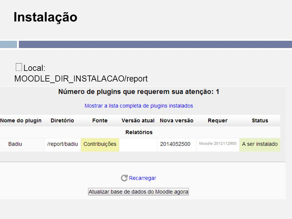 Instalação Local: MOODLE_DIR_INSTALACAO/report