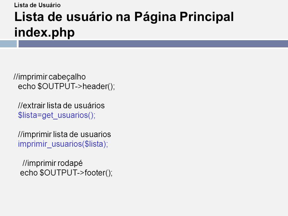 Lista de usuário na Página Principal index.php