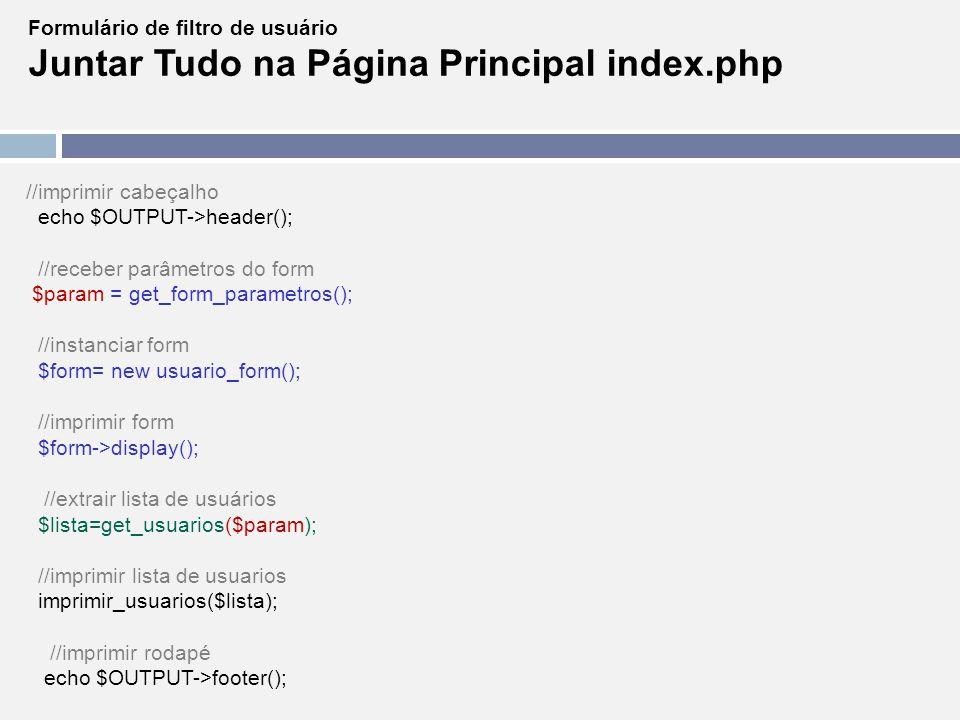Juntar Tudo na Página Principal index.php