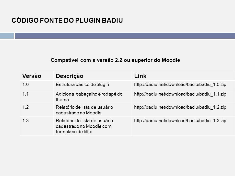 Compatível com a versão 2.2 ou superior do Moodle