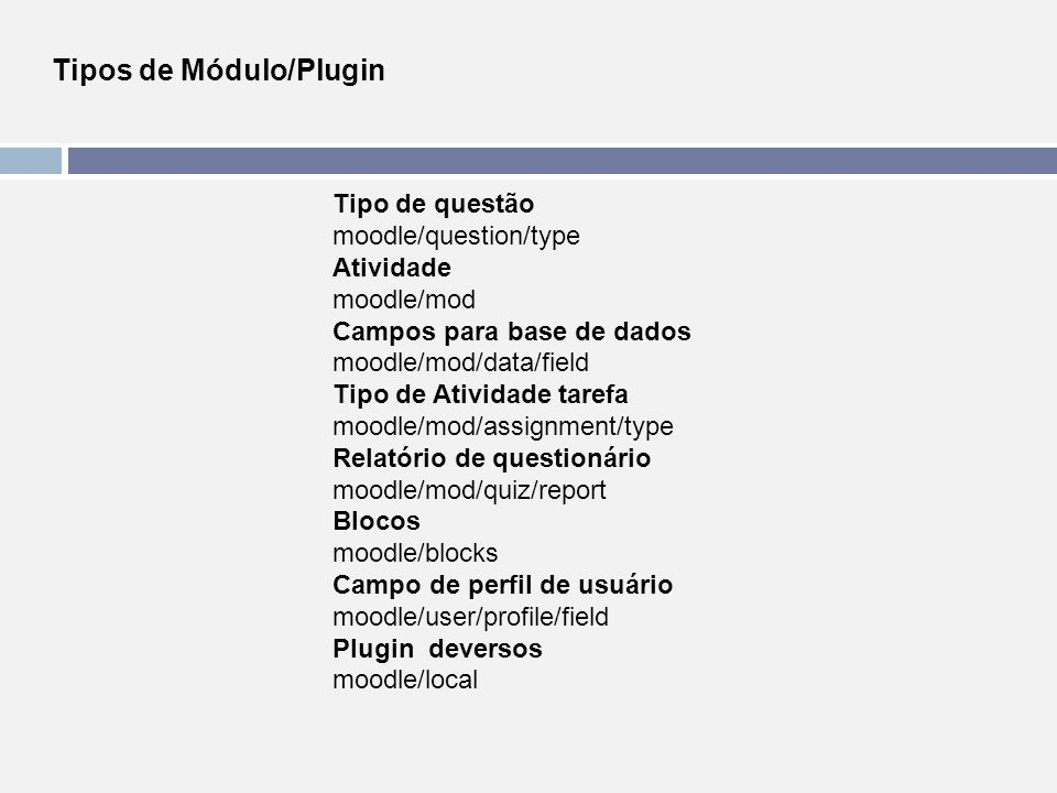 Tipos de Módulo/Plugin