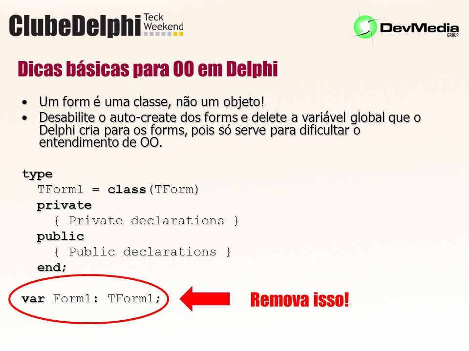 Dicas básicas para OO em Delphi