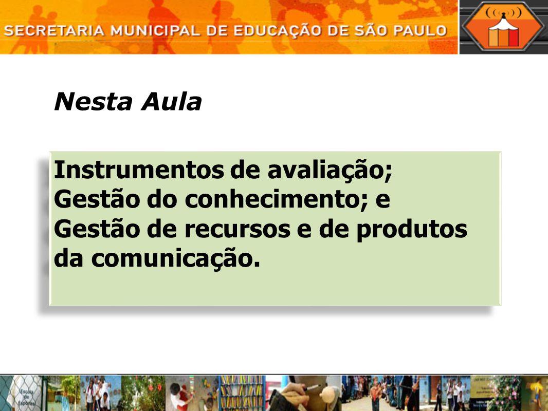 Nesta Aula Instrumentos de avaliação; Gestão do conhecimento; e.