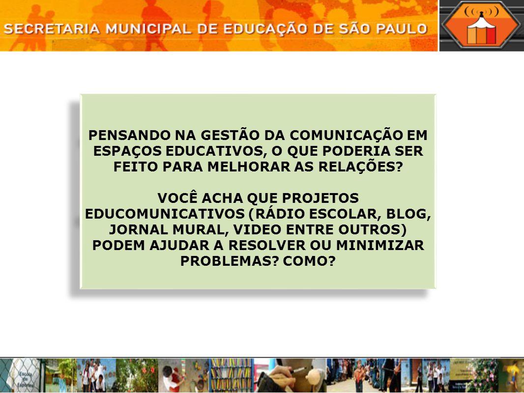 PENSANDO NA GESTÃO DA COMUNICAÇÃO EM ESPAÇOS EDUCATIVOS, O QUE PODERIA SER FEITO PARA MELHORAR AS RELAÇÕES
