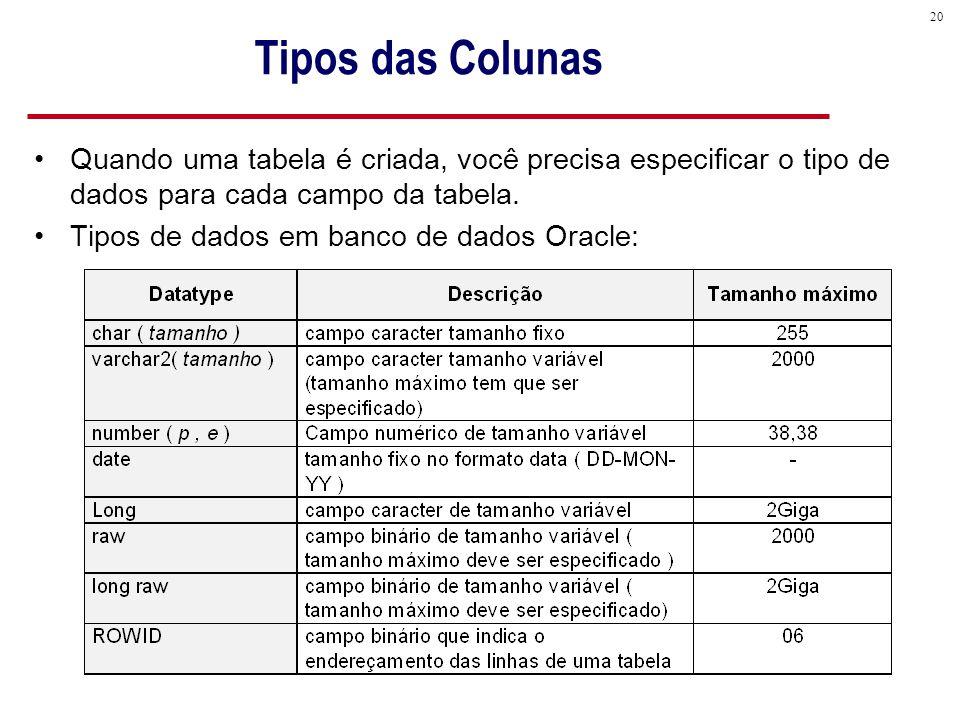 Tipos das Colunas Quando uma tabela é criada, você precisa especificar o tipo de dados para cada campo da tabela.