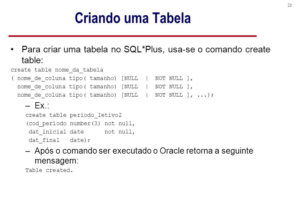 Criando uma Tabela Para criar uma tabela no SQL*Plus, usa-se o comando create table: create table nome_da_tabela.