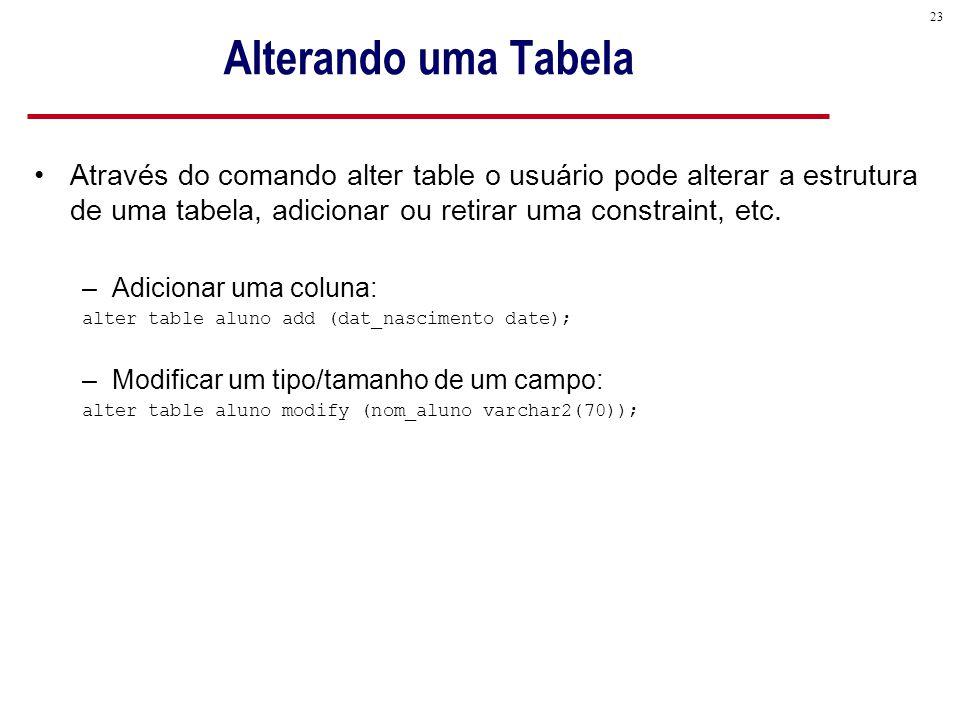 Alterando uma Tabela Através do comando alter table o usuário pode alterar a estrutura de uma tabela, adicionar ou retirar uma constraint, etc.
