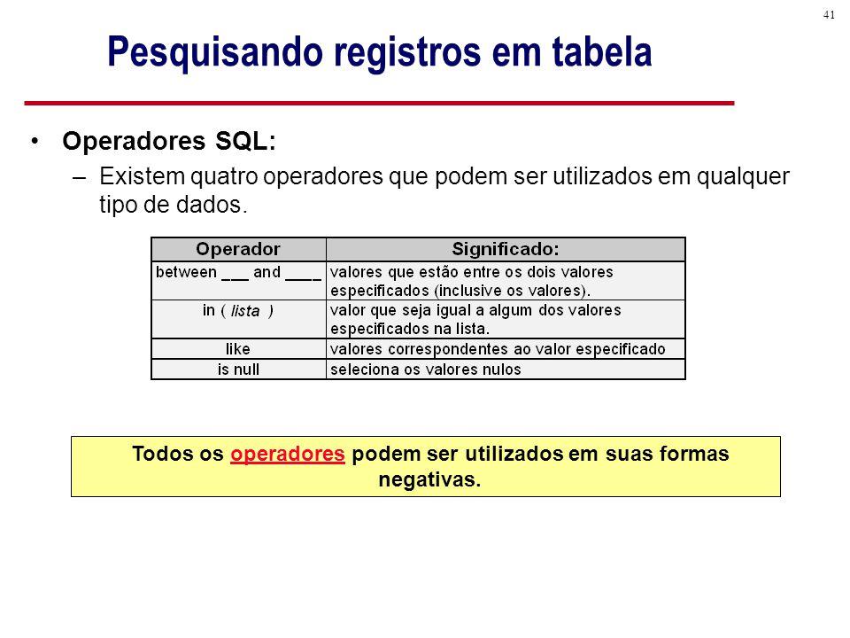 Pesquisando registros em tabela
