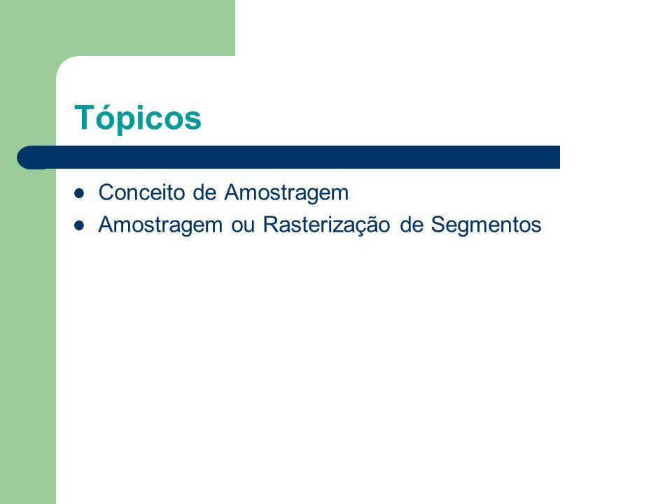 Tópicos Conceito de Amostragem Amostragem ou Rasterização de Segmentos