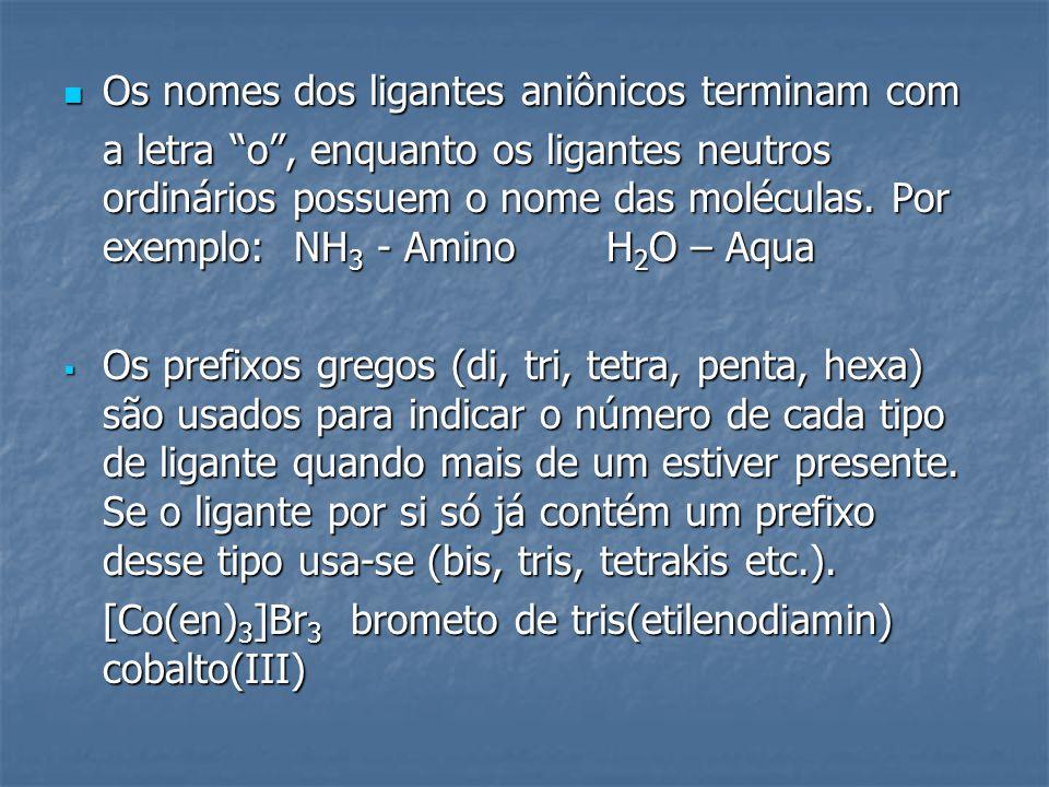 Os nomes dos ligantes aniônicos terminam com