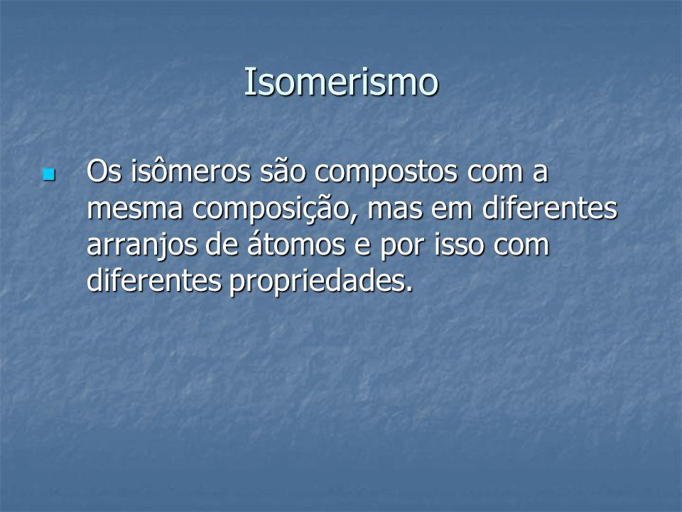 Isomerismo Os isômeros são compostos com a mesma composição, mas em diferentes arranjos de átomos e por isso com diferentes propriedades.