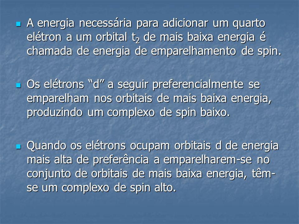 A energia necessária para adicionar um quarto elétron a um orbital t2 de mais baixa energia é chamada de energia de emparelhamento de spin.