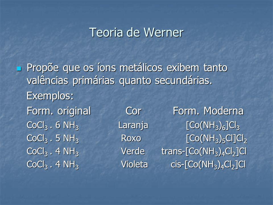 Teoria de Werner Propõe que os íons metálicos exibem tanto valências primárias quanto secundárias. Exemplos: