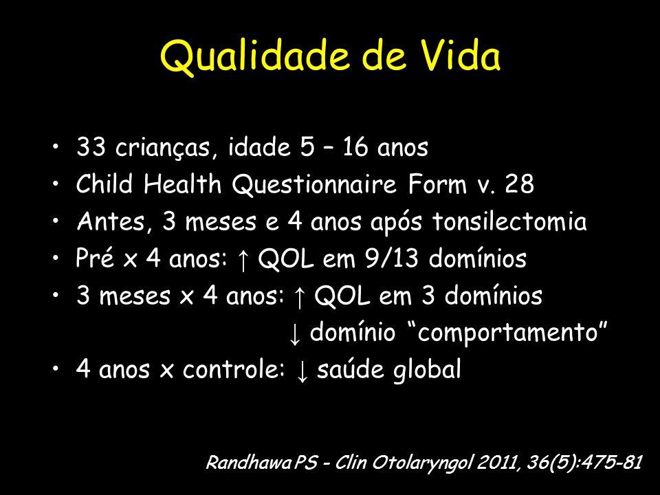 Qualidade de Vida 33 crianças, idade 5 – 16 anos
