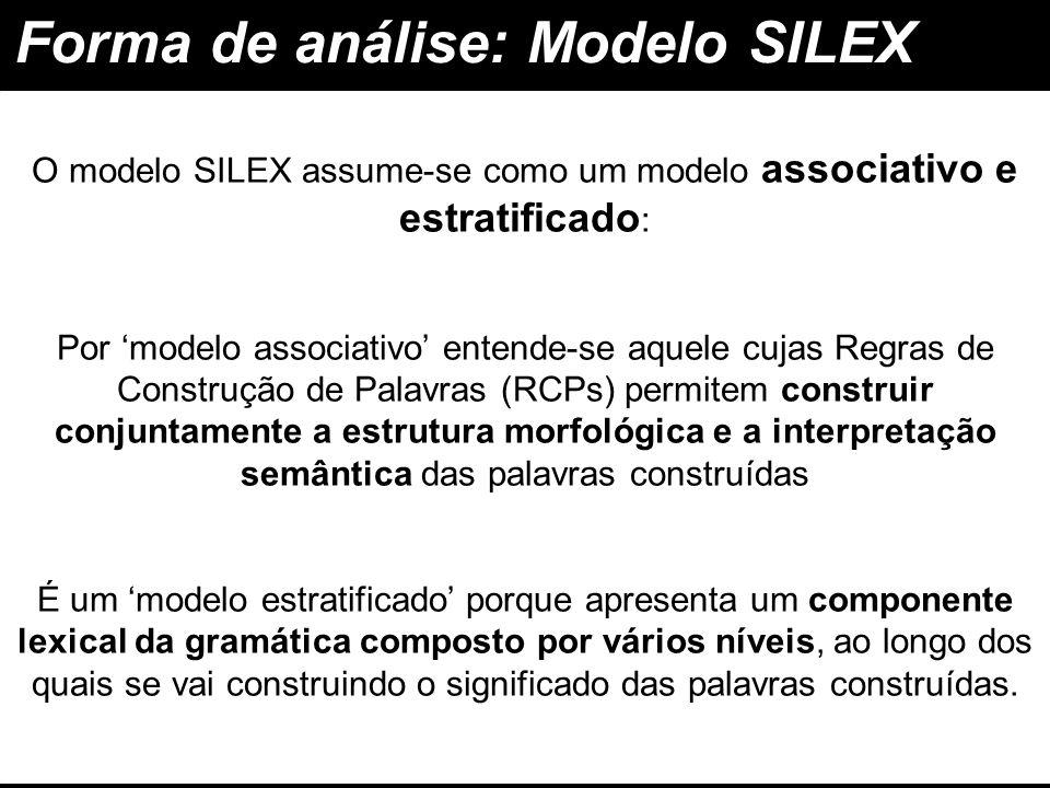 O modelo SILEX assume-se como um modelo associativo e estratificado: