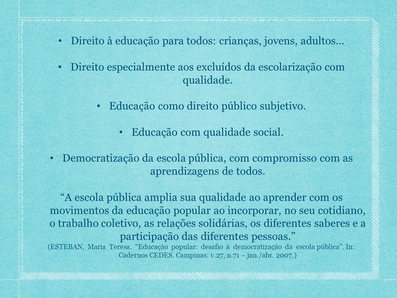 Direito à educação para todos: crianças, jovens, adultos...