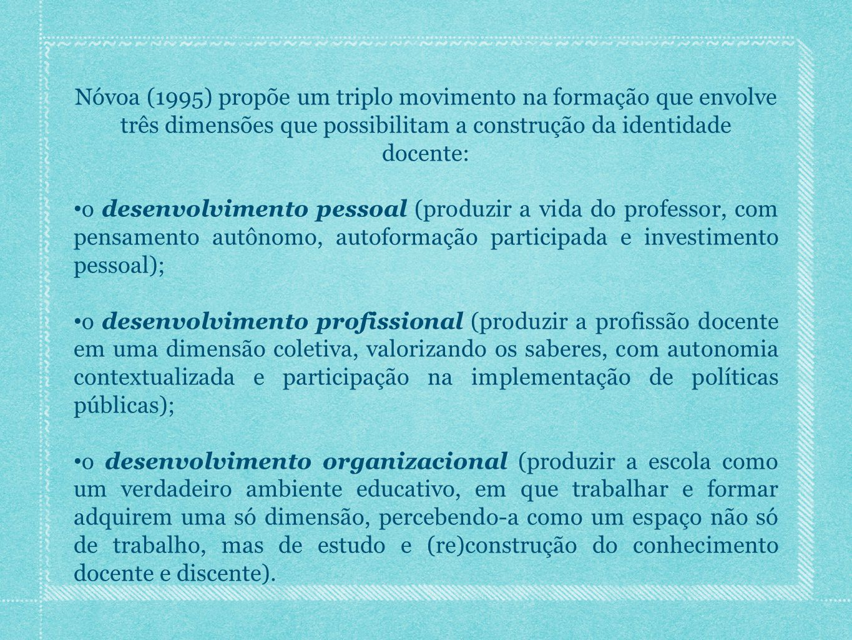 Nóvoa (1995) propõe um triplo movimento na formação que envolve três dimensões que possibilitam a construção da identidade docente: