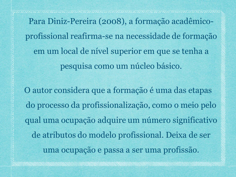 Para Diniz-Pereira (2008), a formação acadêmico- profissional reafirma-se na necessidade de formação em um local de nível superior em que se tenha a pesquisa como um núcleo básico.