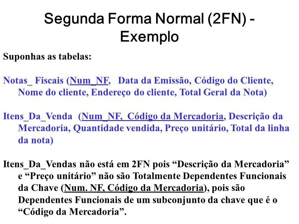 Segunda Forma Normal (2FN) - Exemplo