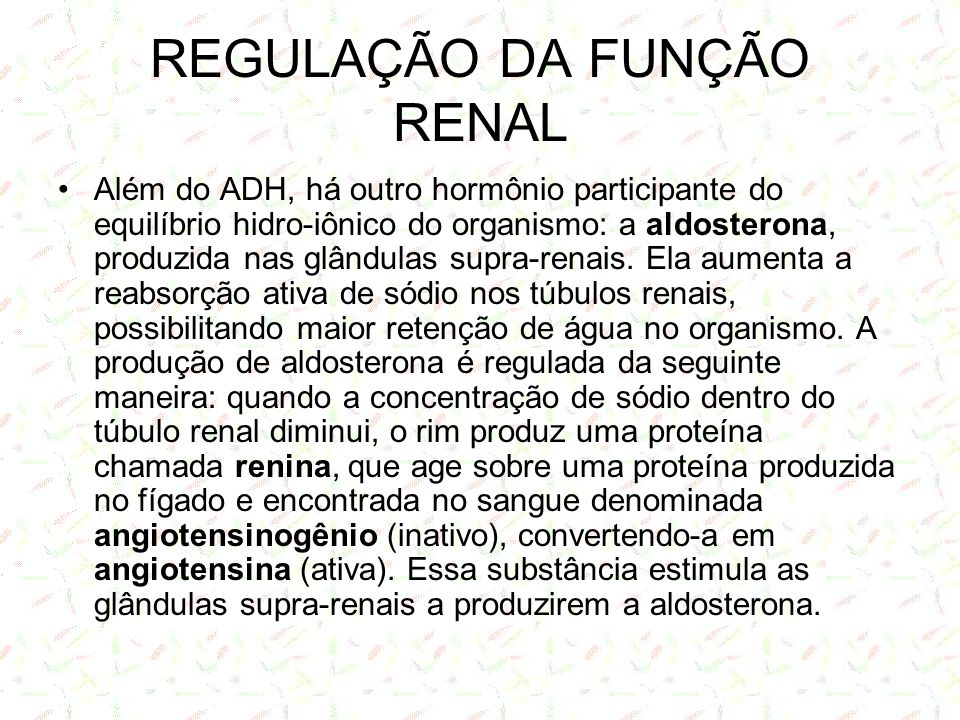 REGULAÇÃO DA FUNÇÃO RENAL