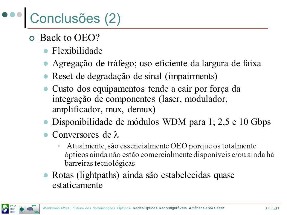 Conclusões (2) Back to OEO Flexibilidade
