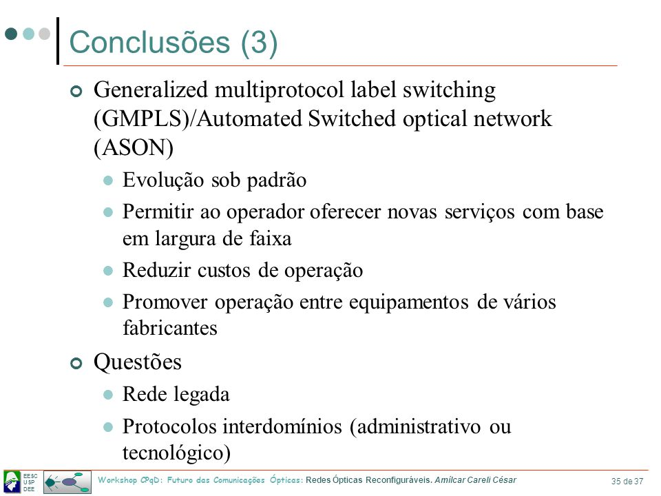 Conclusões (3) Generalized multiprotocol label switching (GMPLS)/Automated Switched optical network (ASON)