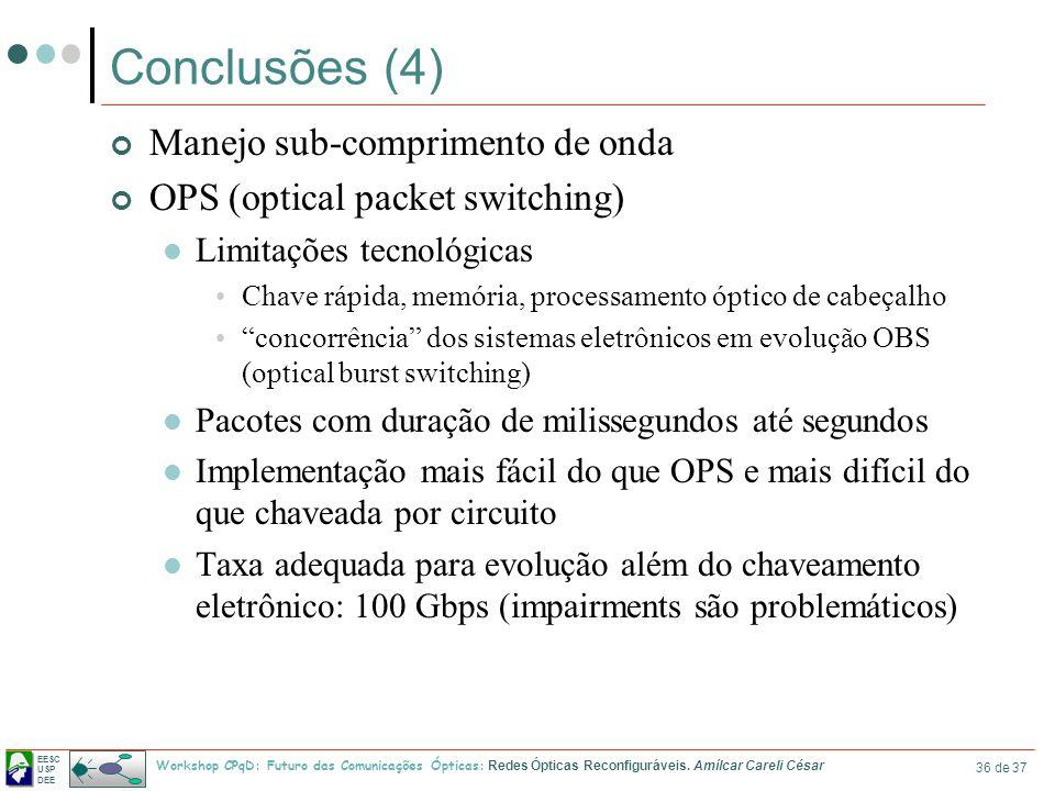 Conclusões (4) Manejo sub-comprimento de onda