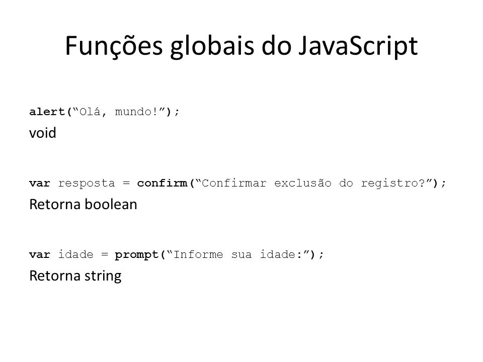 Funções globais do JavaScript