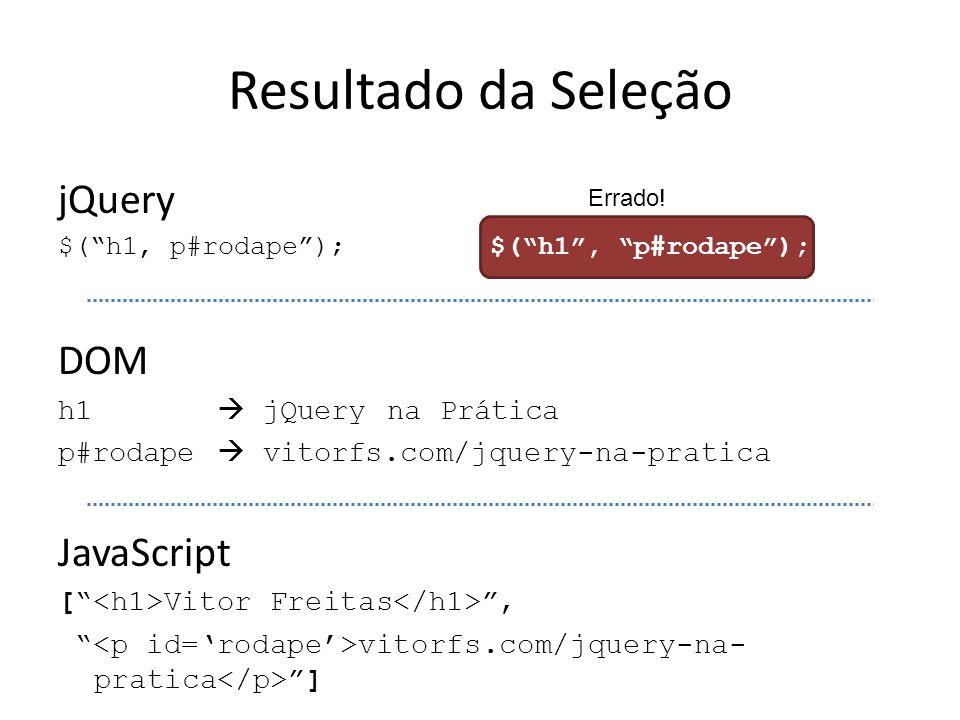 Resultado da Seleção jQuery DOM JavaScript h1  jQuery na Prática