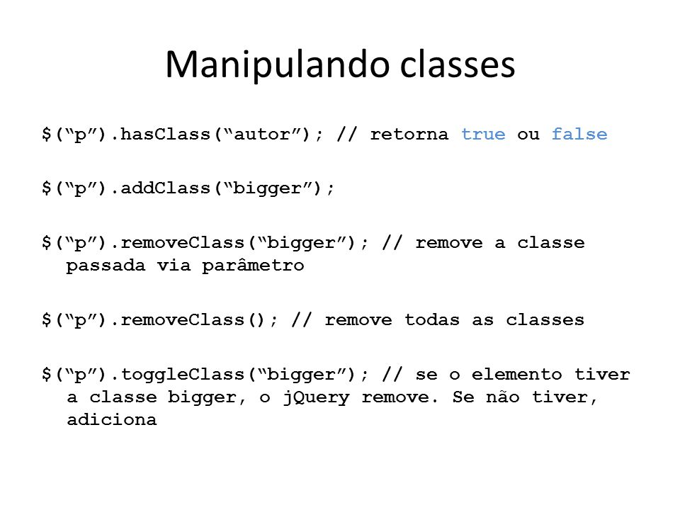 Manipulando classes