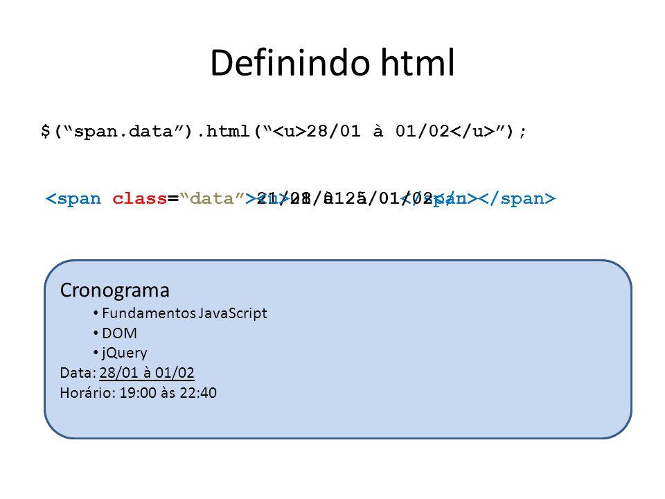 Definindo html Cronograma Cronograma