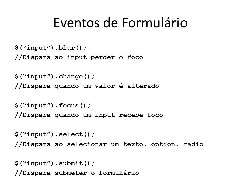 Eventos de Formulário