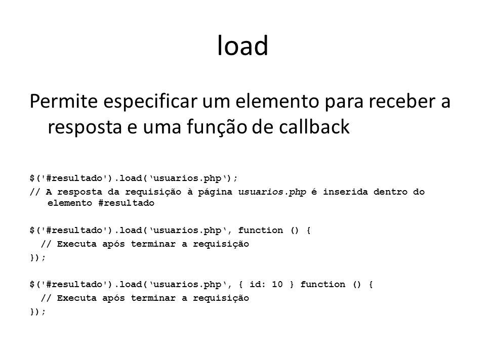 load Permite especificar um elemento para receber a resposta e uma função de callback. $( #resultado ).load('usuarios.php');