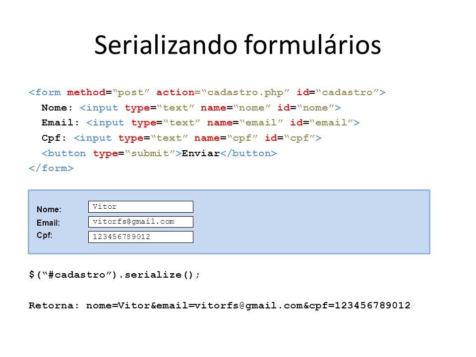Serializando formulários