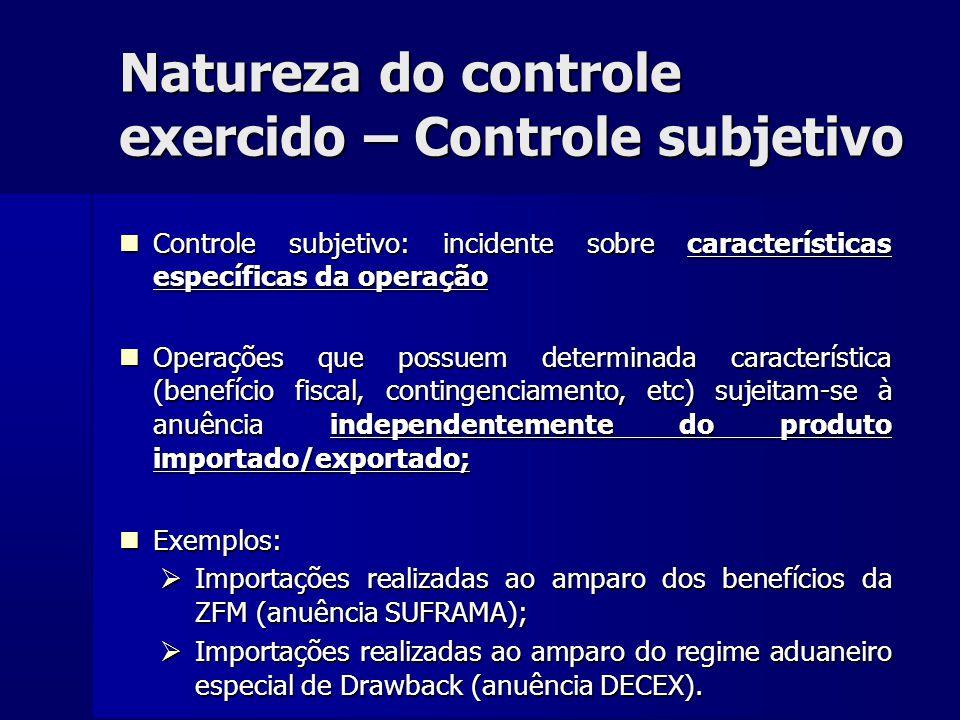 Natureza do controle exercido – Controle subjetivo