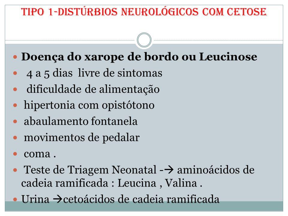 Tipo 1-Distúrbios neurológicos com cetose