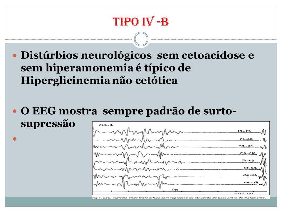 Tipo iv -b Distúrbios neurológicos sem cetoacidose e sem hiperamonemia é típico de Hiperglicinemia não cetótica.