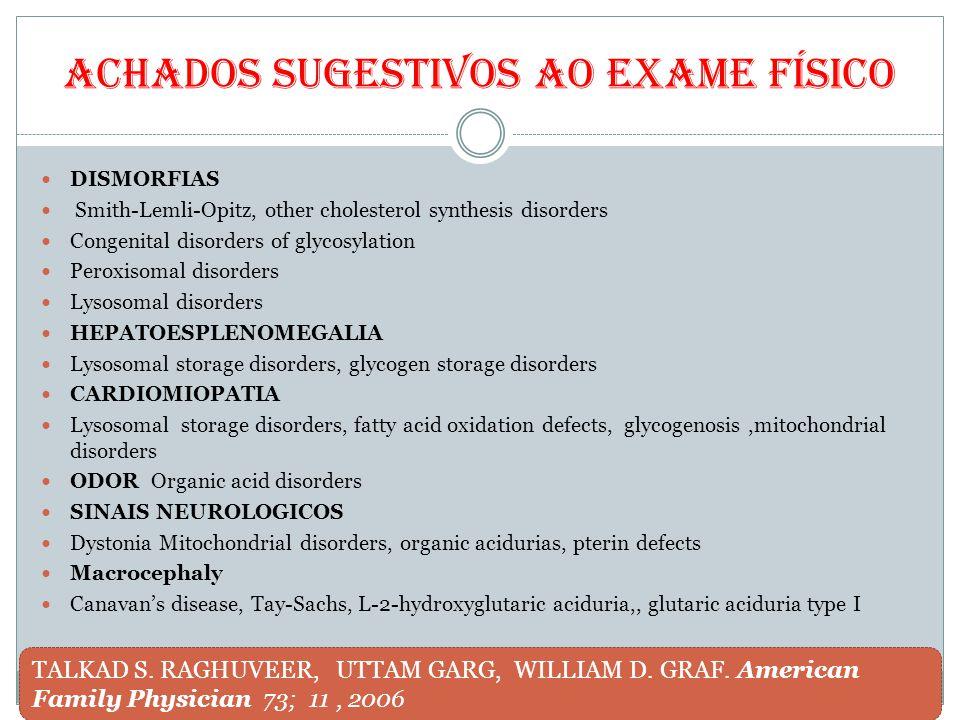Achados sugestivos ao exame físico