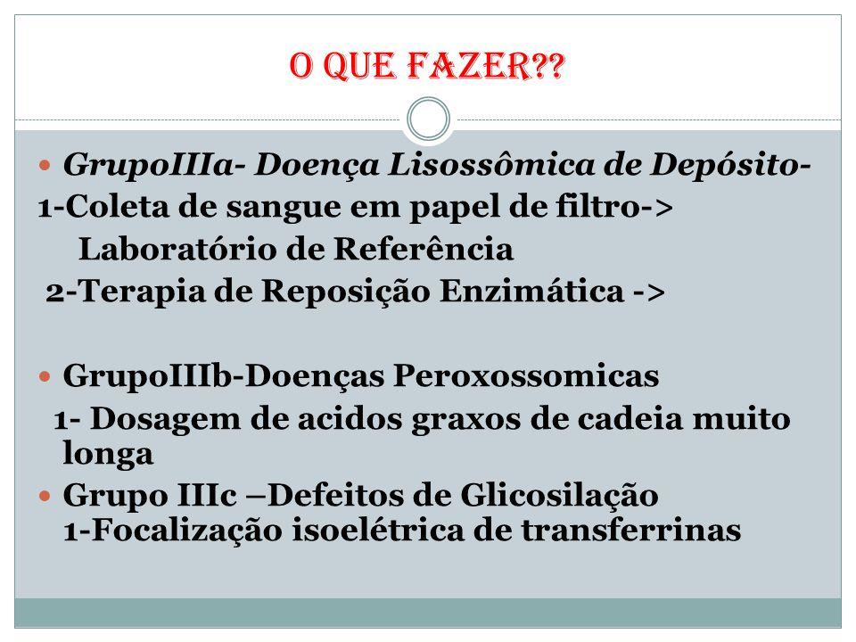 O QUE FAZER GrupoIIIa- Doença Lisossômica de Depósito-