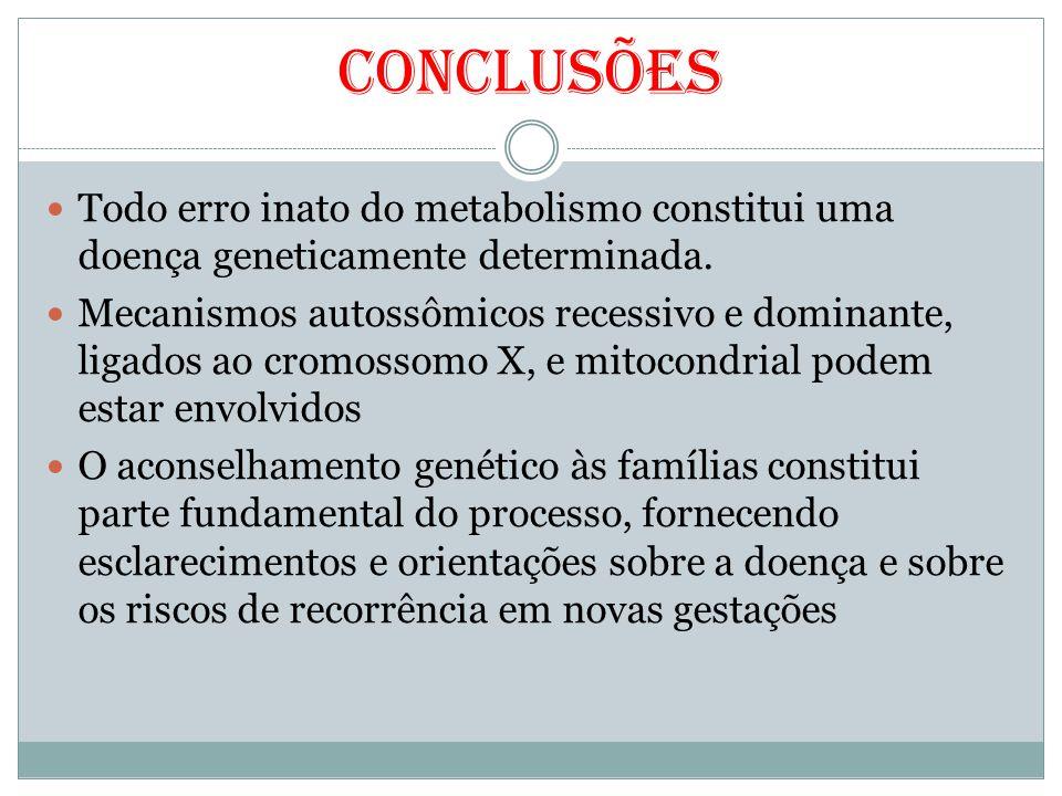 Conclusões Todo erro inato do metabolismo constitui uma doença geneticamente determinada.
