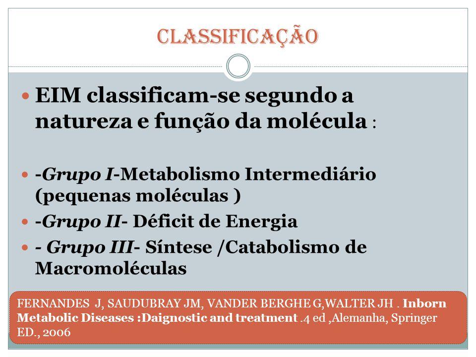Classificação EIM classificam-se segundo a natureza e função da molécula : -Grupo I-Metabolismo Intermediário (pequenas moléculas )