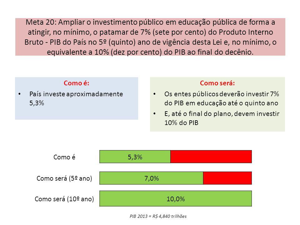 Meta 20: Ampliar o investimento público em educação pública de forma a atingir, no mínimo, o patamar de 7% (sete por cento) do Produto Interno Bruto - PIB do País no 5º (quinto) ano de vigência desta Lei e, no mínimo, o equivalente a 10% (dez por cento) do PIB ao final do decênio.