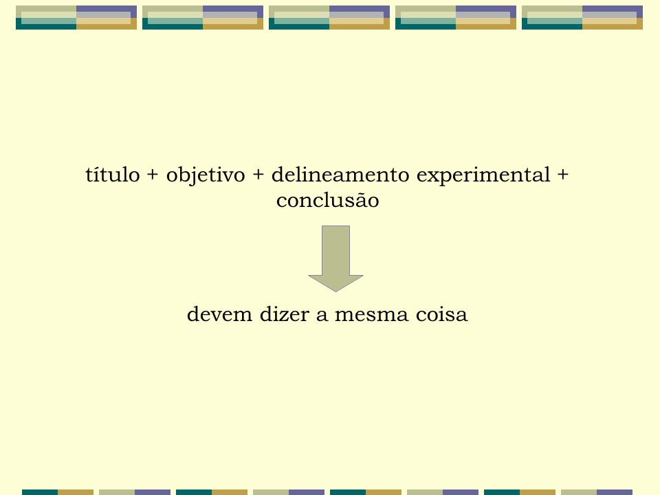 título + objetivo + delineamento experimental + conclusão