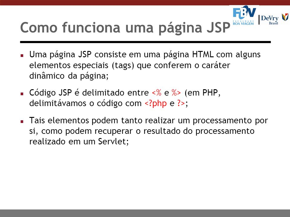 Como funciona uma página JSP