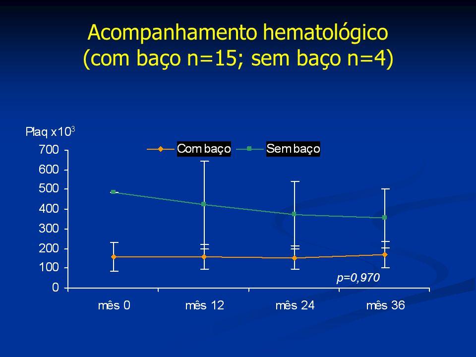Acompanhamento hematológico (com baço n=15; sem baço n=4)