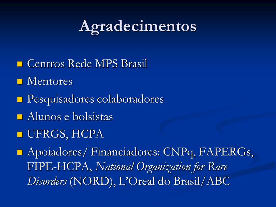 Agradecimentos Centros Rede MPS Brasil Mentores