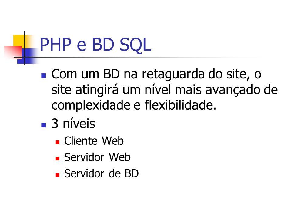 PHP e BD SQL Com um BD na retaguarda do site, o site atingirá um nível mais avançado de complexidade e flexibilidade.