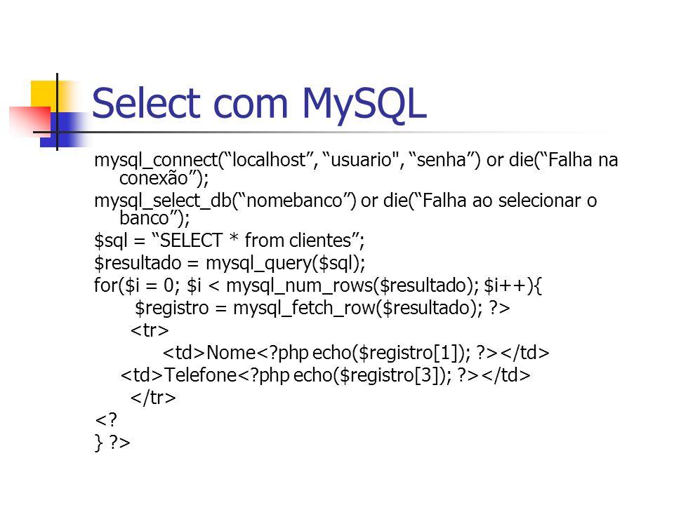 Select com MySQL mysql_connect( localhost , usuario , senha ) or die( Falha na conexão );