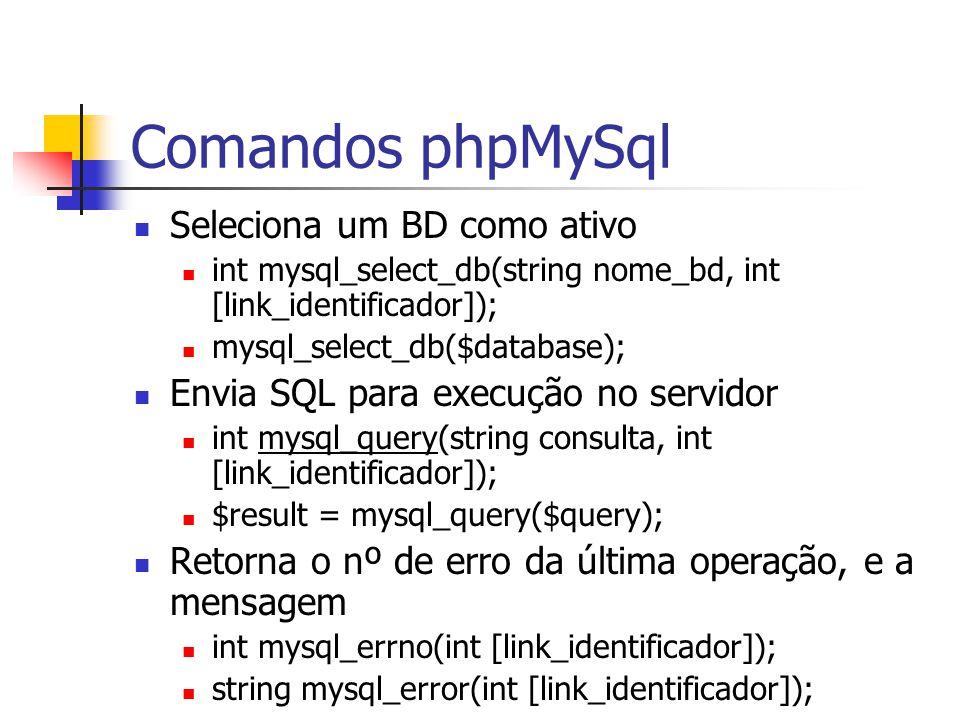 Comandos phpMySql Seleciona um BD como ativo