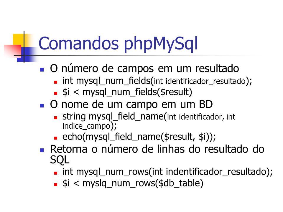 Comandos phpMySql O número de campos em um resultado